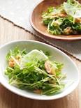 鮭と豆苗のレモンオリーブ和えサラダ。