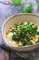 【らくレピ】包丁不要!鶏ひき肉とわかめと豆腐の卵炒め