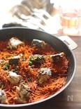 サバ缶のパスタパエリア、スパイシートマト風味