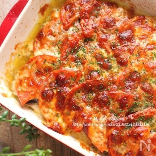 並べて焼くだけ簡単!茄子とトマトの豚肉ジューシー重ね焼き