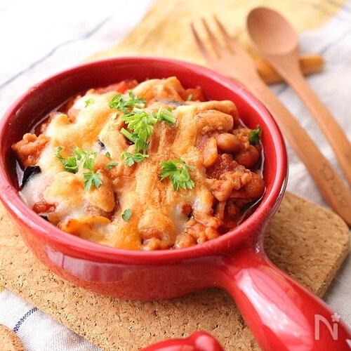 栄養満点!大豆入りミート茄子のチーズ焼き