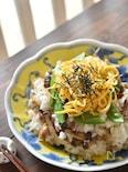 焼きさんまときのこの生姜佃煮の混ぜご飯