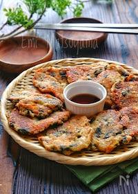 『【らくレピ】包丁不要!さば缶と豆腐のもちもち海苔チーズチヂミ』