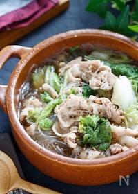 『豚肉と白菜の中華風春雨スープ【#茹で戻し不要 #包丁不要】』