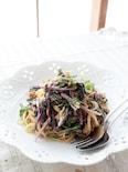 ツナと赤水菜の春パスタ