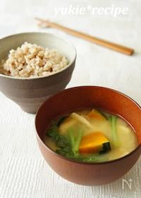 『【夏バテ対策】南瓜と小松菜のお味噌汁』