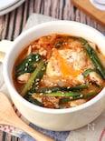 まるでお鍋♪落とし卵の豚キム胡麻味噌スープ