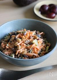 『朝食にも♪人参とレーズンとお豆たちのスプーンサラダ』