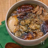*牡蠣と豚肉と椎茸の酸辣湯風春雨スープ*