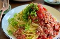煮込まず簡単【サバ缶とトマトのこく旨パスタ】