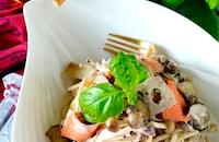 【絶品クリーミー】根菜とサーモンのクリームスパゲッティ
