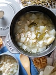 シンプルで美味しい♡【鶏ひき肉と大根の具沢山スープ】