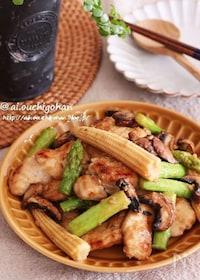 『おどろくほどしっとり♡鶏むね肉とアスパラのマヨポン炒め♡』
