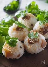 『ザーサイとごま油の中華風オイルおにぎり#お弁当』
