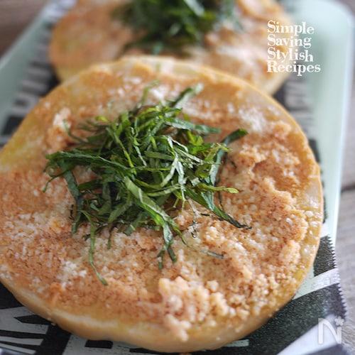 元気に朝ご飯!明太子チーズベーグルトーストの作り方