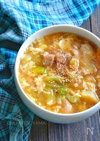 『【具沢山なおかずスープ】キャベツと鶏肉のとろみかき玉スープ』