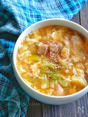【具沢山なおかずスープ】キャベツと鶏肉のとろみかき玉スープ