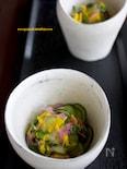 きゅうり酢の物(菊とスプラウト入り)