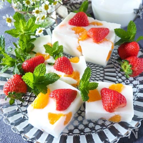 牛乳パックで作るミルクみかん寒天【型不要・牛乳パック使用】