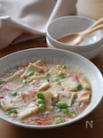ぽかぽか温まるやさしい味♡絹揚げのカニカマとろみ煮