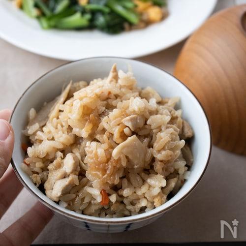 鶏肉と舞茸の炊き込みごはん【野菜たっぷり・冷めても美味しい】