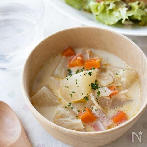 『根菜の和風ミルクスープ』#簡単#朝ごはん