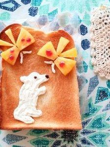 白クマとちょうちょのこんがりトースト♪