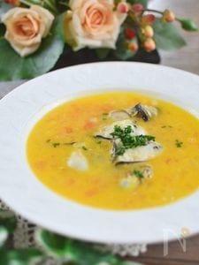 牡蠣のサフランクリームスープ