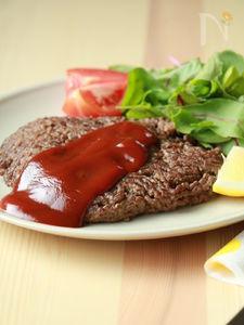 パックから触らず出すだけ☆ひき肉でなんちゃってステーキ