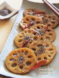 調味料2種類☆チアシードの蓮根キンピラ