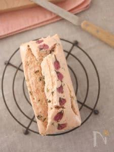 桜を楽しむ♪米粉の蒸しパウンドケーキ