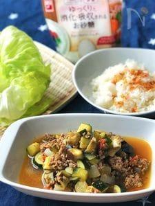 レタスにも!ご飯にも!*夏野菜とひき肉のカレー炒め*適糖生活