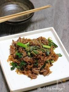 【基本の和食】牛肉と糸こんにゃくの炒め煮。