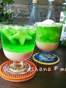 アイスクリームで♪クリームソーダゼリー♪
