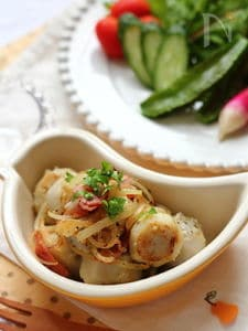 里芋のベーコン炒め