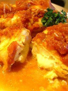 トマトとモッツアレラチーズの包み焼きチキン
