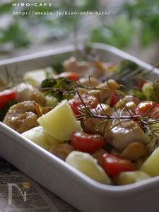 鶏もも肉と野菜のハーブオーブン焼き☆