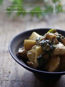 里芋とほうれん草の豚バラ豆乳炒め☆