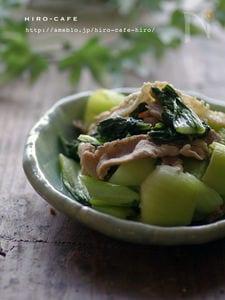 チンゲン菜と豚肉のオイスター炒め☆