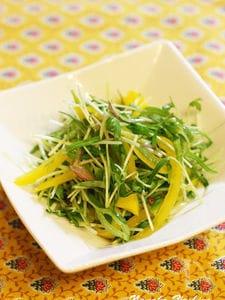 空芯菜の新芽とパプリカのサラダ