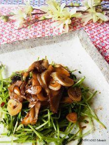 豆苗と舞茸のピリ辛オイスターソース炒め
