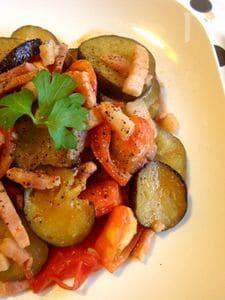夏野菜でラタトゥイユ風☆トマトと茄子のガーリック炒め