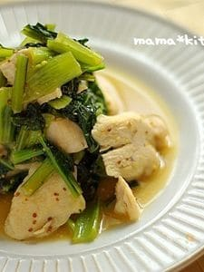鶏むねと雪菜の粒マスタード炒め
