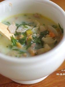 セロリの葉とベーコンのミルクスープ