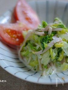 レタスとハムの中華風サラダ