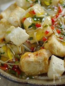 揚げ餅と豆腐の彩り野菜餡かけ