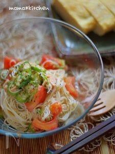 お素麺で!柚子胡椒香るオクラとツナの和風冷製パスタ