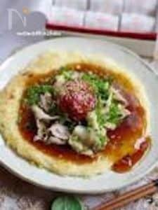 梅干と豚しゃぶの焼き素麺