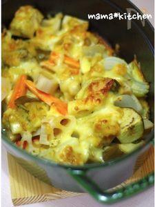 staubで。蓮根と白なすの味噌チーズ焼き