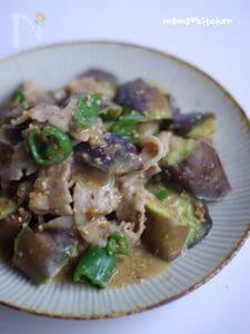 豚肉と茄子の胡麻味噌炒め